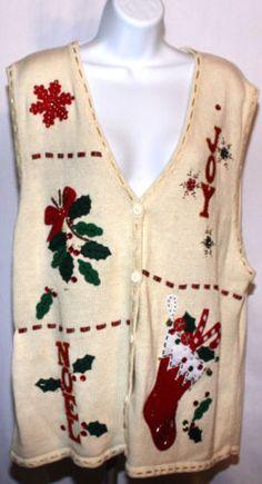 BOBBIE BROOKS Ugly Christmas Sweater Vest XL Holly Joy Stocking Noel Snowflake