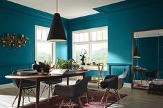 dining room color inspiration gallery sherwin williams pertaining to dining room paint colors Dining Room Paint Colors Dining Room Paint Colors, Blue Paint Colors, Dining Room Walls, Dining Area, Plum Walls, Dark Grey Walls, Tinta Sherwin Williams, Dovetail Sherwin Williams, Do It Yourself Home