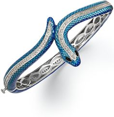 Town & Country Sterling Silver Bracelet, White Topaz (2 ct. t.w.) and Enamel Snake Bangle on shopstyle.com