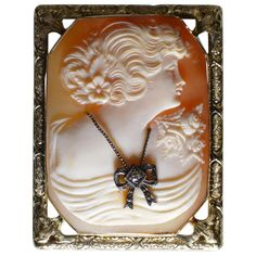 For Sale on - Unusually fine style hand carved Cameo Brooch Pin Pendant mounted in a 14 Karat Rose Gold frame. Created from a tropical mollusk by a European craftsman, Bow Necklace, Frames For Sale, Rose Gold Frame, Cameo Jewelry, Jewelry Crafts, Hand Carved, Vintage Jewelry, Carving