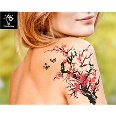 Tatuaje temporal acuarela acuarela tatuaje flor de cerezo