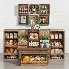 Wooden counter from Artisan Crate Range, 1m chunky crates with back wall display. www.linkshelving.com