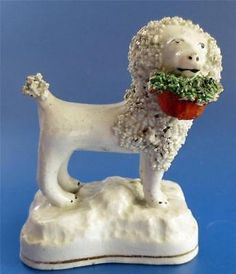 Antique Staffordshire Pottery Poodle  Dog Figure Victorian 19C