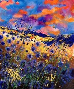 "Pol Ledent; Oil 2013 Painting ""Cornflowers 5632"" I WANT THIS!!!!!!!!!!!!!!!!!! ....all my favorite colors <3"