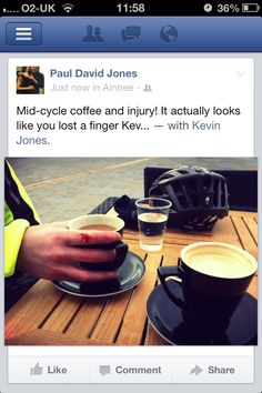 Mid-cycle coffee and injury to Kev!