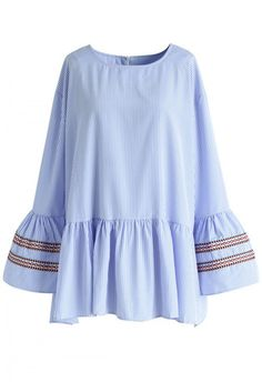 Casual yet chic is the order of the day with this blue top featuring girlish bell sleeves and solid blue stripes. Light embroidery gives the top a touch of boho chic without undermining the sharpness of the look.  - Blue and white stripe pattern - Flare cuffs with embroidered ribbon trimmed - Concealed back zip closure - Drop shoulder - Ruffle hem - 100% polyester - Hand wash  Size(cm) Length  Bust  Waist  Shoulder  Sleeves S/M        70    126   124    51     ...