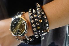 Spike black leather bracelet    &     bracelet watch