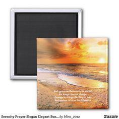 Serenity Prayer Slogan Elegant Sunrise Beach Ocean Magnet #serenityprayer #serenityprayermagnets #serenityprayerbeachocean #inspirationalquotes #inspirationalquotesmagnets #beachmagnets #beachphotos #oceanphotos #sunrisephotos