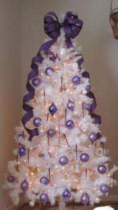 Just Purple 44 Fabulous White Christmas Tree Decor Ideas trending White Christmas Trees, Christmas Tree Design, Beautiful Christmas Trees, Noel Christmas, Holiday Tree, Xmas Trees, Christmas Colors, Rustic Christmas, Christmas Ideas