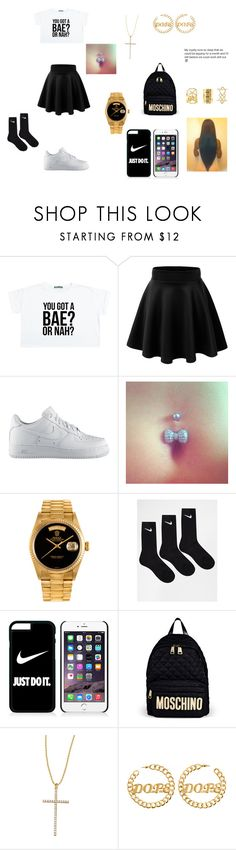 """""""U Got A Bae Or Nah??"""" by swaggmaster1994 ❤ liked on Polyvore featuring NIKE, Rolex, Moschino, Carolina Loyola and Charlotte Russe"""