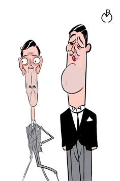 Jeeves and Wooster (Hugh Laurie & Stephen Fry) caricatures