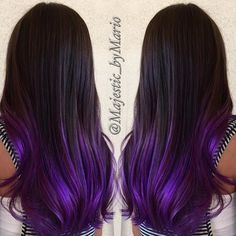 Dark brunette with purple hair color by @majestic_bymario hotonbeauty.com hair painting purple ombre