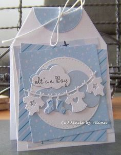 Handmade baby boy card - This card is cute, but there's a great tip for layering at this site! Scrapbook Bebe, Scrapbook Cards, New Baby Cards, Baby Boy Cards Handmade, Baby Girl Cards, Baby Shower Invitaciones, Baby Shower Cards, Card Tags, Kids Cards
