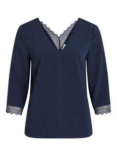 BLONDEDETALJERT TOPP MED 3/4 ERMER Blouse, Long Sleeve, Sleeves, Shirts, Tops, Women, Products, Fashion, Blouse Band