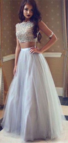 Silver Beaded Two Pieces Long A-line Tulle Prom Dresses, Grey prom dresses,A-line two pieces evening gown ,formal dresses,Evening Dresses, Prom Dresses,Long Beading Prom Dresses, Cocktail Dresses, formal dresses,Wedding guests dresses