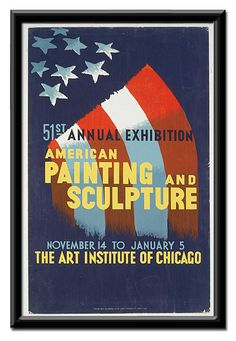 """From the WPA collection 1930s """"51st Annual Exhibition / American Painting"""" promoting american artists https://www.etsy.com/listing/124581153/51st-annual-exhibition-american-painting #Chicago"""