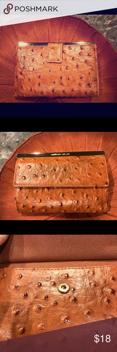 0df136a72964 NWOT Antonio Melani rust color leather wallet. NWOT Antonio Melani rust  color ostrich print leather
