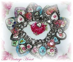 Vintage Sterling Charm Bracelet with Art Charms Guilloche Mosaics Hearts Flowers
