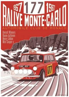 Rallye Monte Carlo Mini – Period style Race Posters based on real events with imagined scenes by Motoring Artist Simon May.