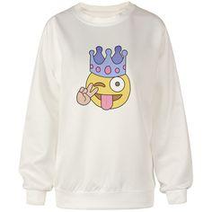 Chicnova Fashion Street Style Emoji Print Sweatshirt ($8.50) ❤ liked on Polyvore featuring tops, hoodies, sweatshirts, crew neck sweatshirts, print sweatshirt, crew-neck sweatshirts, pattern tops and crewneck sweatshirt