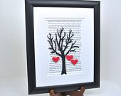 Hand Framed Personalized Valentine's Day or Anniversary or Wedding Gift - 3D Paper Tree In an Open Black Frame - 1st Anniversary Gift