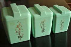 Vintage 1950s Turquoise Kitchen Set of 3 Mid Century Canisters 1950s 1960s Retro…