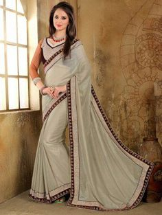 Light Grey Georgette Saree with Lace Work