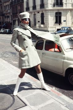 24 Classic Street Style Shots You've Never Seen Before #refinery29 http://www.refinery29.com/vintage-street-style-pictures#slide-18 We wanna go back to the '60s, take this coat, scarf, hat, and boots, and then come back to 2015 and get this exact shot up on The Sartorialist.