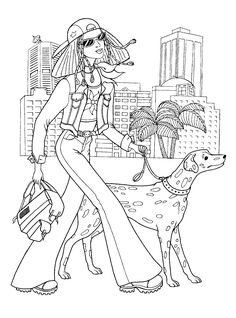 Fashionable girls coloring pages 9