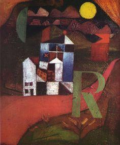 """""""Villa R,"""" 1919, Paul Klee. Oil on panel; 22 x 26 cm. Offentliche Kunstsammlung, Basel, Switzerland."""