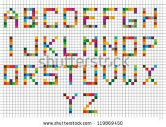 Illustration about Abstract colorful bright mosaic alphabets background. Illustration of gradient, bright, alphabet - 44764139 Cross Stitch Letter Patterns, Cross Stitch Letters, Stitch Patterns, Perler Patterns, Mosaic Patterns, Crochet Alphabet Letters, Mosaic Art Projects, Block Lettering, Quilts