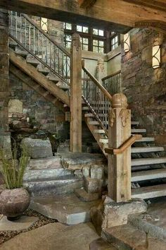 Stairwell with hidden built-in fountain