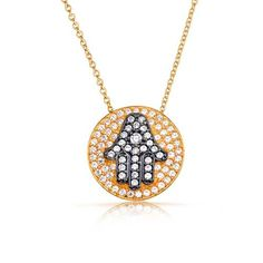 Bling Jewelry CZ Hamsa Hand Medallion Necklace Gold Plated Sterling Silver 16in >>> Be sure to check out this awesome product.