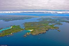 Great Bernera (right) and Little Bernera (left) from the sky; a remote Scottish community ...