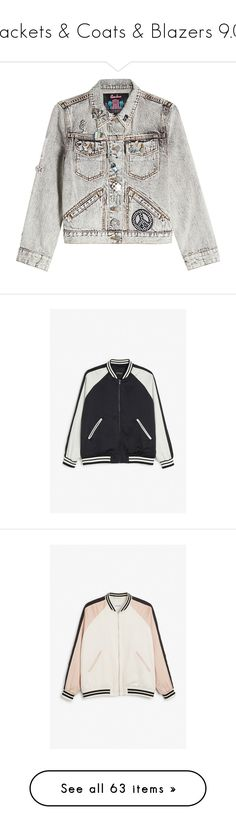 """""""Jackets & Coats & Blazers 9.0"""" by jaekoreoz ❤ liked on Polyvore featuring outerwear, jackets, grey, gray jean jacket, marc jacobs, embellished jacket, embellished jean jacket, gray jacket, multimix and blouson jacket"""