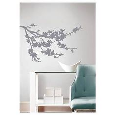 RoomMates Gray Silhouette Blossom Branch Peel and Stick Wall Decals : Target