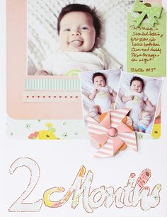 2 Months - by Jen Chesnick using the Dear Lizzy Neapolitan collection from American Crafts. #dearlizzy #scrapbooking #baby #babybook #layout