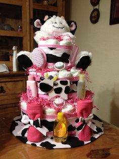 Ideas For Baby Girl Cake Homemade Cow Baby Showers, Baby Girl Shower Themes, Baby Shower Diapers, Baby Shower Cakes, Baby Shower Decorations, Baby Shower Gifts, Baby Girl Items, Baby Boy Gifts, Baby Girl Cakes