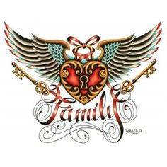 Family by Tyler Bredeweg Tattoo Art Canvas Print. Tyler J. Bredeweg is a tattoo artist from Viejo, California and enjoys art, sports, tattoos, Jesus, spirituality, Sublime, women, U2, Entourage, Cops, and Journey.Feminine heart locket with wings and key. Makes an awesome gift for mothers.