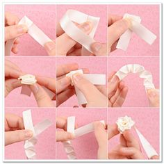 Ribbon Flowers Tutorial (Make flowers)  Fold both ends of the ribbon and pull the longer end.