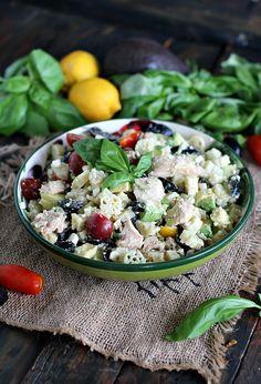 Greek Tuna Pasta Salad - Peas and Peonies