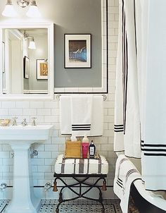 classic. white subway tile, black, white, and grey