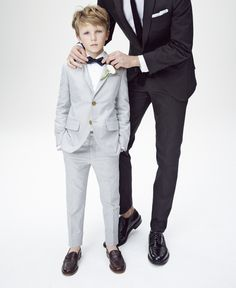 Weddings & Parties: J.Crew boys' Ludlow suit jacket in oxford cloth, Ludlow tuxedo shirt, slim Ludlow suit pant in oxford cloth, silk bow tie and kids' penny loafer driving mocs.