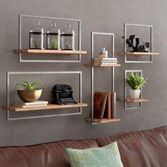 AllModern Bucksport 5 Piece Wall Shelf Set, Wood/Metal/Manufactured Wood in Brown, Size 13