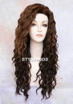 HEAT OK Human Hair Blend Spiral Curls Curly Brown & Blonde Mix Wig SABR 4/27