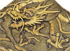 A Fine Komai Metalwork Box with a Dragon, Signed Kyoto ju Komai gen sei, Meiji period (late 19th century)