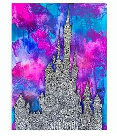 Castillo de Disney (Zentangle art) Dani Hoyos - New Ideas Zantangle Art, Zen Art, Painting Lessons, Art Lessons, Disney Cute, Disney Word, Castle Painting, Arte Disney, Zen Doodle