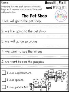 Free 20 fix it up pages. These are great for students in kindergarten, first grade, and second grade. Students get extra practice reading, editing and rewriting the reading passages. Kindergarten Writing, Teaching Writing, Writing Practice, Writing Activities, Writing Classes, Toddler Activities, Punctuation Worksheets, Math Worksheets, Grade 1