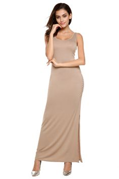 Angvns Stylish Ladies Women Casual Sexy Sleeveless O Neck Long Full Party Evening Solid Dress