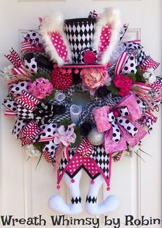Deco Mesh Pink, Black and White Mad Hatter Floral Bunny Wreath, Easter Wreath, Spring Wreath, Harlequin Bunny, Easter Decor, Easter Bunny by WreathWhimsybyRobin on Etsy